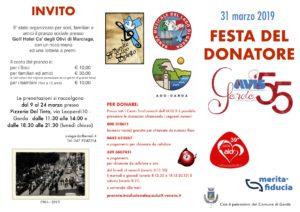 FESTA DEL DONATORE - INVITO AVIS MAR 2019
